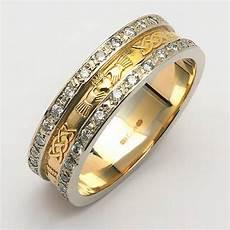 irish wedding ring 14k gold diamond pave celtic