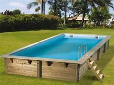piscines en kit kit piscine bois nortland ubbink linea rectangulaire 3 50 x 6 50 x 1 40m liner bleu sur