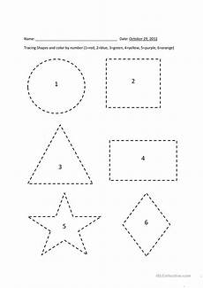 shapes worksheets for esl students 1103 tracing shapes color by number esl worksheets for distance learning and physical