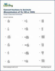 worksheet decimal to fraction 7306 grade 5 math worksheet fractions convert fractions and mixed numbers to decimals
