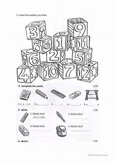 colors and school objects worksheets 12788 test on colours numbers and school objects worksheet free esl printable worksheets made by