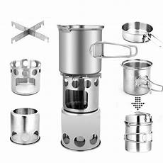 outdoor cing cook stainless steel tableware stove portable for hiking fishing travel cookware