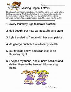 capital letter worksheets grade 3 23105 capitalization worksheets page 2 of 2 teaching