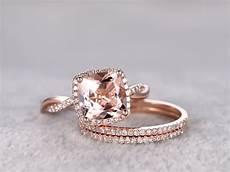 2 4 carat cushion cut morganite rose gold wedding diamond bridal ring 14k infinity stacking