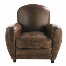 fauteuil en cuir fauteuil club en cuir marron oxford maisons du monde