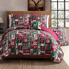 buy vcny holiday patch 5 piece full queen quilt in green from bed bath beyond