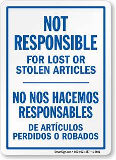 non responsable company not responsible signs