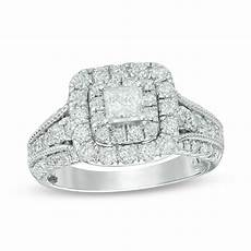 1 1 2 ct t w princess cut diamond double frame vintage style engagement ring in 14k white gold