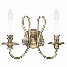 antique brass livex caldwell 2 light wall sconce candle style fixture 5162 01 ebay