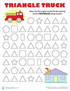 shape maze worksheet 1194 follow the triangle maze with images shapes preschool free preschool worksheets preschool
