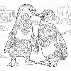 emperor penguins in freehand sketch for