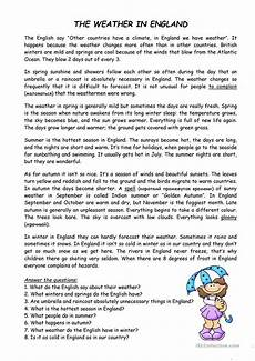 weather reading comprehension worksheets 14512 the weather in worksheet free esl printable worksheets made by teachers reading