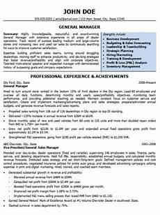 automotive resumes general manager resume sle
