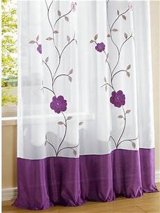 lila gardinen 1 st gardine 140 x 145 wei 223 lila blumen applikation