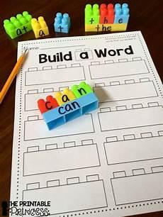 build a sight word plus recording sheet kindergarten