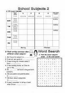 part 2 3 school subjects and timetable esl worksheet by