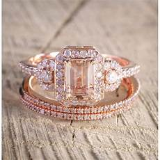 limited time sale 2 carat morganite and diamond trio ring in 10k rose gold with one