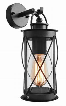 outdoor garden wall lantern light black metal with glass down wall lantern zlc14 5055875518315