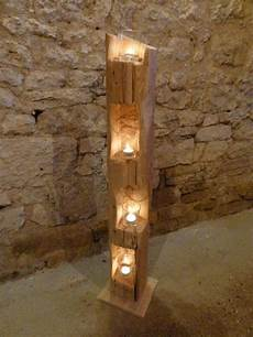 windlicht unikat aus altem holzbalken stele deko skulptur