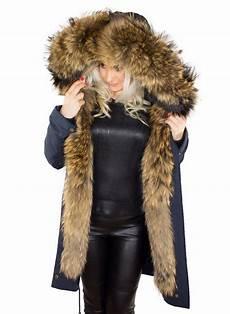 damen winter parka mantel jacke finnraccoon pelzkragen
