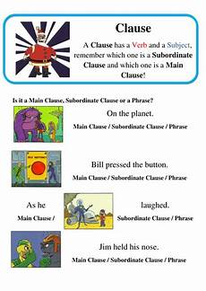 worksheets for kindergarten in 18604 grammar clauses and subordinate clauses spag by lastingliteracy teaching
