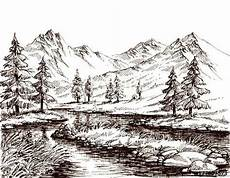 Sketsa Gambar Gunung Contoh Sketsa Gambar