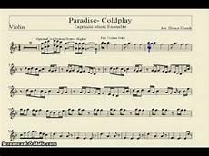 paradise coldplay sheet music violin youtube