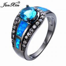blue sapphire ball opal ring black gold filled