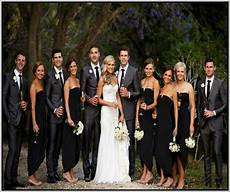 black bridesmaid and grey groomsmen suits search black bridal black