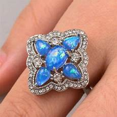 gorgeous 925 silver jewelry s wedding rings blue