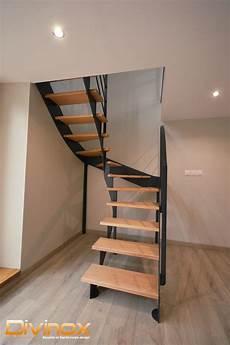 escalier 2 quarts tournant acier et bois