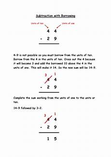 subtraction with borrowing guide teaching ideas