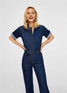 Mango Belt Denim Jumpsuit In Blue Lyst
