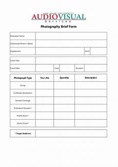 av services request photography brief form