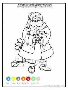 coloring pages christmas santa color by numbers