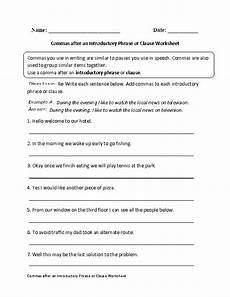 commas after introductory phrase or clause worksheet englishlinx com board essay writing