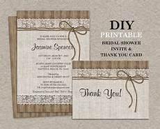 burlap lace bridal shower invitation printable by