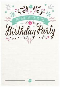 gestaltung einladungskarten geburtstag flat floral free printable birthday invitation template