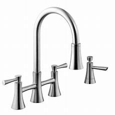 kitchen faucet pull sprayer 925 series 2 handle pull bridge sprayer kitchen faucet with soap dispenser in stainless