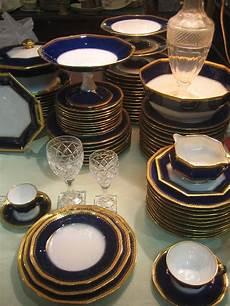 service de table bleu de four or incrust 233 haviland