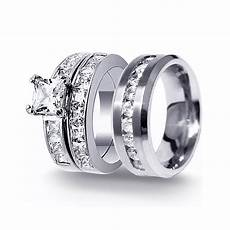 his hers 3pcs stainless steel men s matching band sterling silver s wedding