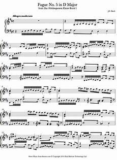 bach fugue no 5 book1 from well tempered clavier sheet