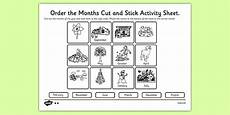 months of the year cut and stick worksheet worksheet months year cut