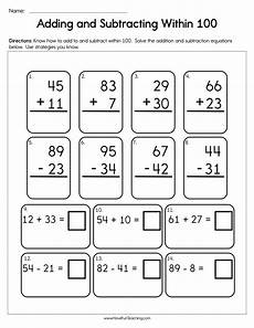 addition and subtraction worksheets 10264 adding and subtracting within 100 worksheet teaching