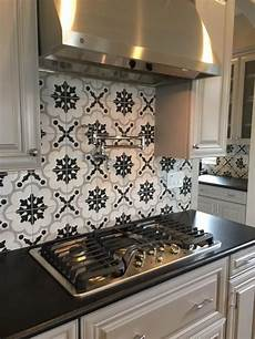 Backsplash For Black And White Kitchen Arizona Tile Cementine Kitchen Tiles Kitchen Kitchen