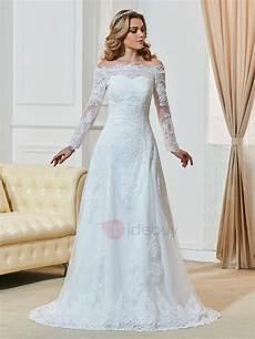 robe de mariée dentelle manches longues the shoulder appliques sleeve wedding dress