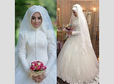 Arabic Bridal Gown Islamic Long Sleeve Muslim Wedding