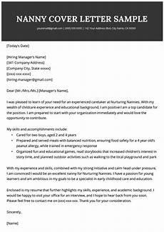 nanny cover letter sle writing tips resume genius