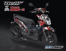 Modifikasi Stiker Motor Beat by Striping Honda Beat Fi Hitam Motif Sikspak Merah