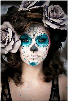 grey sugar skull makeup - Totenkopf Schminken Frau